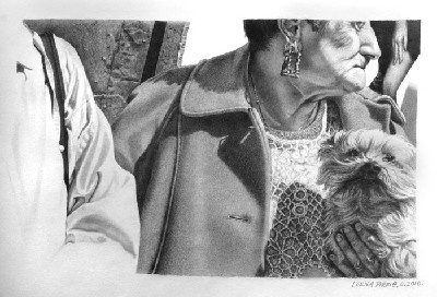 'Bus Stop in Glasgow' c.2010, pencil on paper by Lorna Pirrie