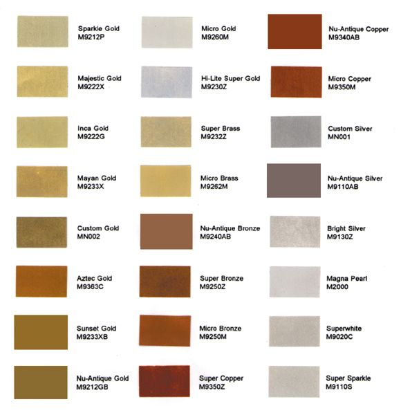 Mica Powder Color Chart Paint Brands Aztec Gold Silver