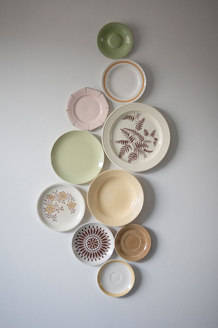 "Decorative vintage wall plates ""Pastel Brunch"". €175.00, via Etsy."