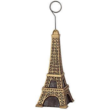 The Eiffel Tower Photo Balloon Holders features the look of the Parisian landmark in gold and black.