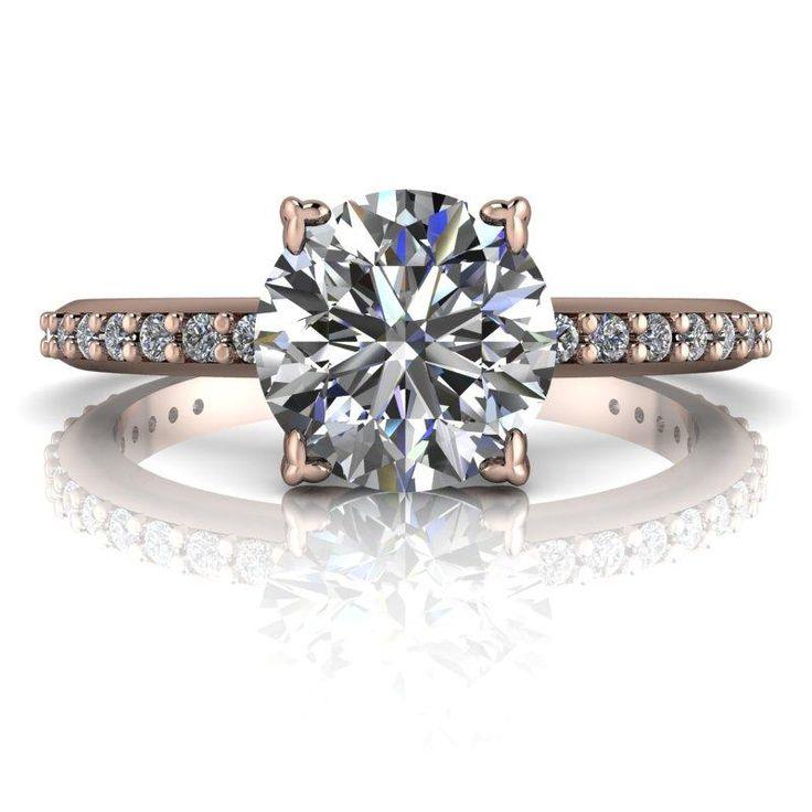 1.18 ctw Lab Grown Genuine Round Diamond 14 kt or Platinum Solitaire Engagement Ring