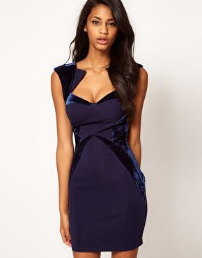 Velevet Panels body con dress