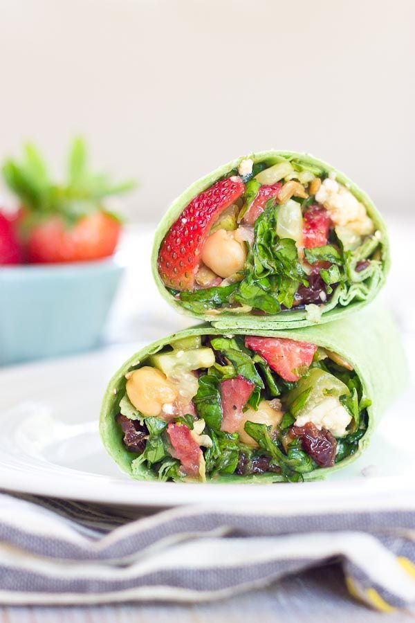 Spring flavors of sweet strawberries, crisp cucumbers and romaine lettuce come together in this strawberry salad wrap for an easy, grab-and-go meal!