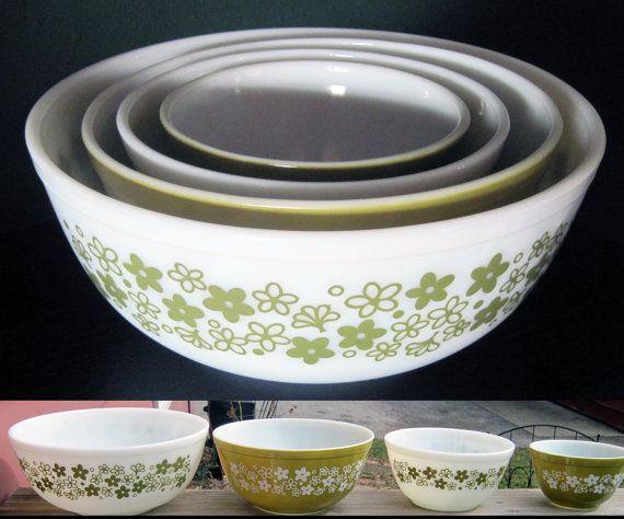 Vintage Pyrex Set of 4 Nesting Mixing Bowls by VintageWeddingChina, $129.95