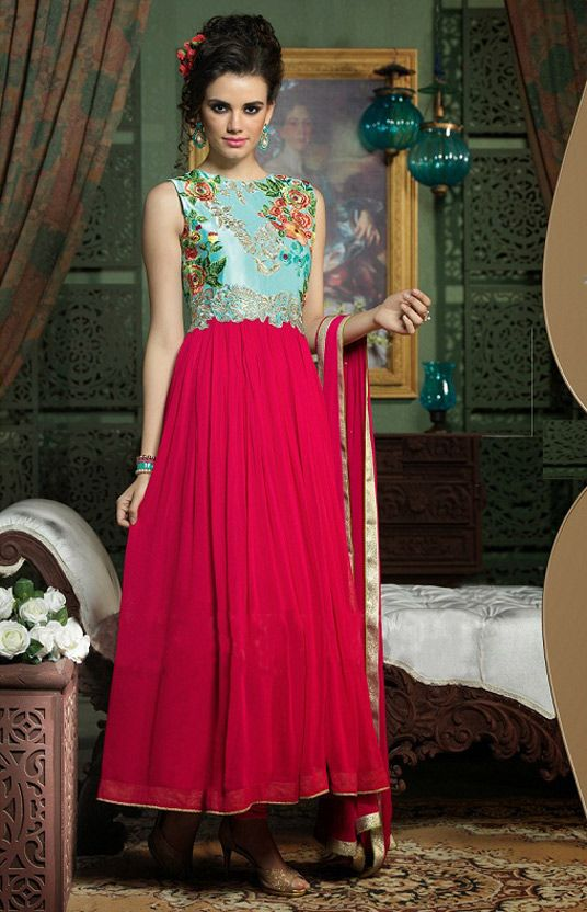 USD 59.8 Sky Blue Georgette Designer Salwar Kameez 44317