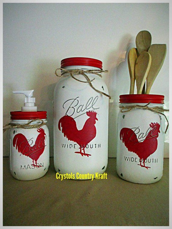 Rooster Chicken Kitchen Sets Red Rooster Soap Dispenser Rooster Cookie Jar Rooster Utensil Holder Country Rustic Mason Jar Canisters Animal Decor Rooster Kitchen Farmhouse Kitchen Canisters