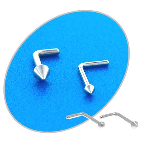 20G with 1.5mm Ball/Spike Top. 6mm Wearable. L bend shape. Made from 316L Surgical Steel #BodyVibe