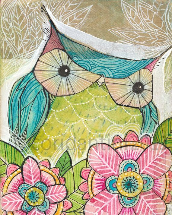 whimsical watercolor painting of a turquoise owl - 8 x 10 - archival and limited edition print by cori dantini