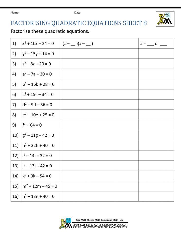 Quadratic Extra Credit Quadratics Quadratic Equation Factoring Quadratics