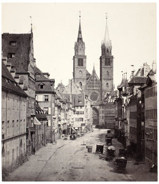 The Lorenzkirche church in Nürnberg, 1862.