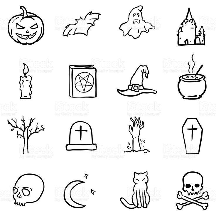Vector Black Doodle Halloween Icons royalty-free stock vector art
