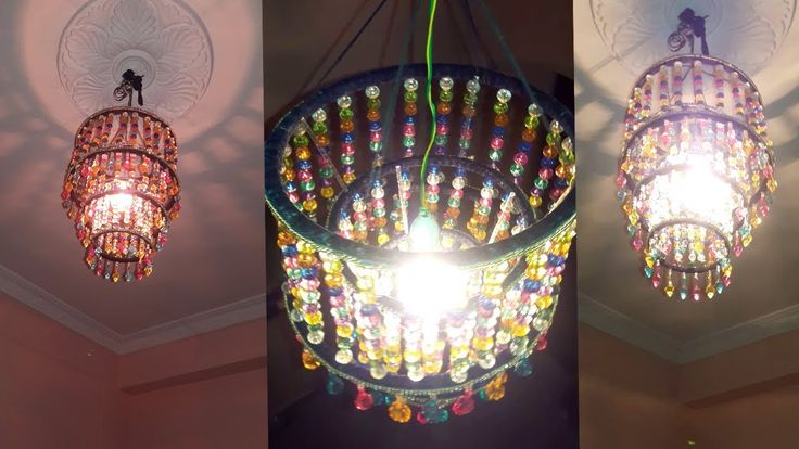 How To Make Jhumar | Wall Hanging Decoration | DIY Crystal Chandelier | ...