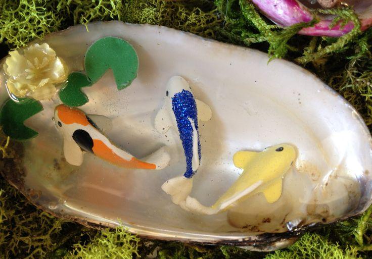 Miniature koi pond 3 fairy garden koi pond in a clamshell for Resin koi fish