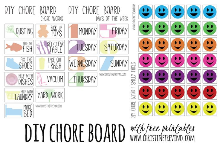DIY Chore Board with FREE Printable chore words, days of the week, and smiley face tiles