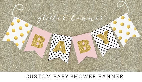 Shabby Chic Baby Shower Decor Banners with a little gold, glitter and polka dots! Perfect for a rustic or tea party baby shower for a little girl on the