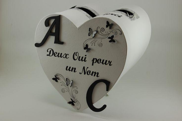 Urne de mariage noire et blanche thème papillons : Boîtes, coffrets par latelierdeclarameline