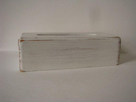 Wood Tissue Box Cover Tissue Box Holder White by PassItOn2013, $15.00