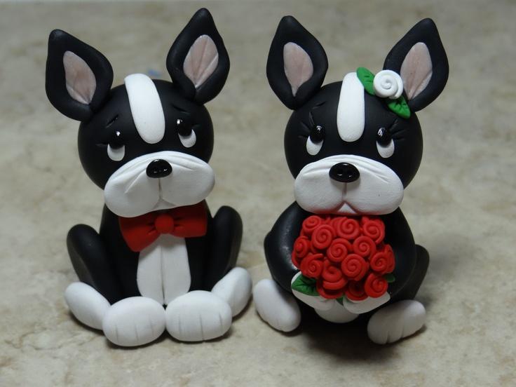 OMG sooooo cute! Custom Boston Terrier Bride and Groom Cake Topper. $35.00, via Etsy.