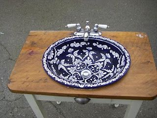 Mexican Pottery sink in desk