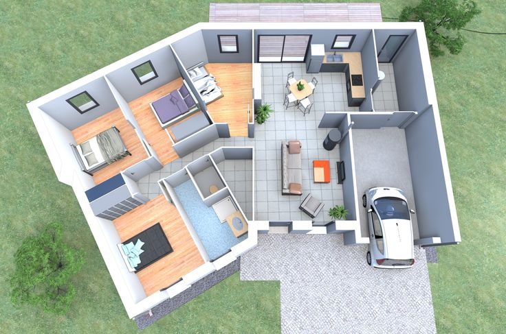 Un plan 3d de maison 4 chambres originale avec une forme - Plan de maison original ...