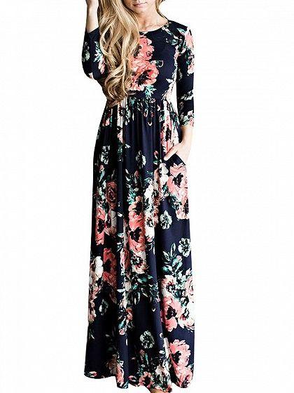 Navy Floral Long Sleeve Maxi Dress