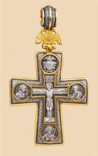 Деревянные кресты ручной работы - Изготовление и установка крестов в Москве: Серебряный крестик - Санкт-Петербургский