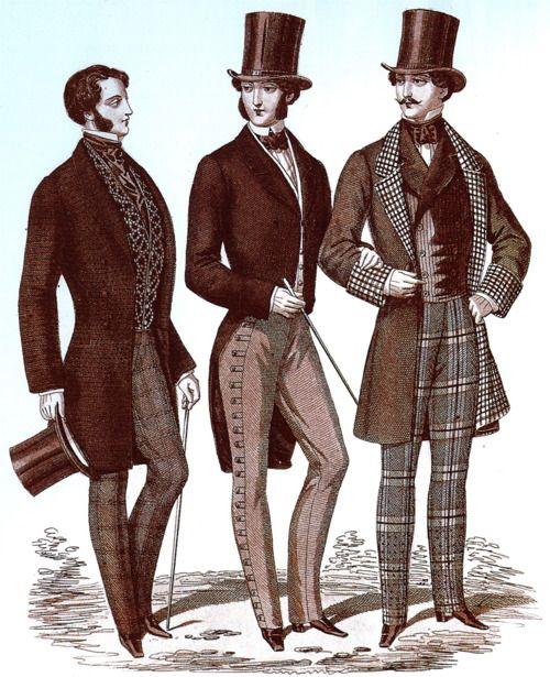 Männermode mit aufwendig verzierten Westen und karierten Hosen und Jackenfutter