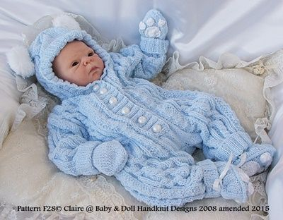 Bunny/Teddy All-in-one 17-24 inch doll/newborn/0-3m baby-all-in-one, knitting pattern, doll, baby, bunny, teddy
