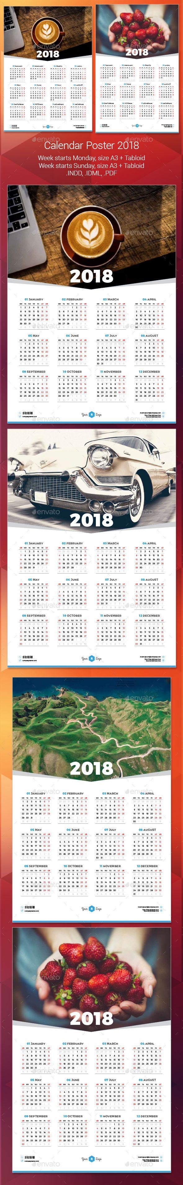 #2018 #simple #clean #Calendar #Poster #template - #Calendars #Stationery #design. download here: https://graphicriver.net/item/2018-calendar-poster/20227782?ref=yinkira