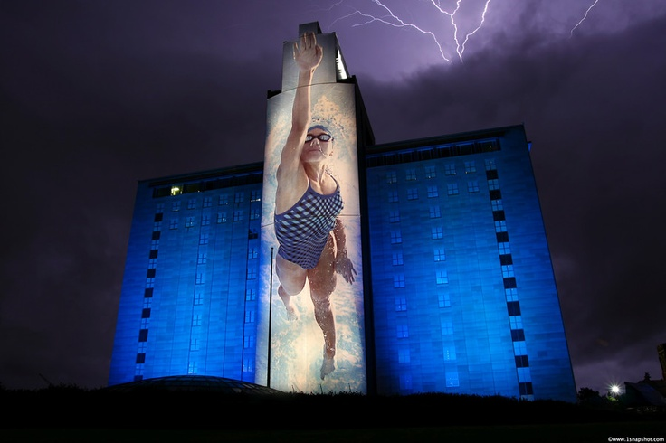 This is the Mutual of Omaha building in Omaha. The mural of the swimmer was put up on the building to welcome the U.S. Olympic Swim Trials.