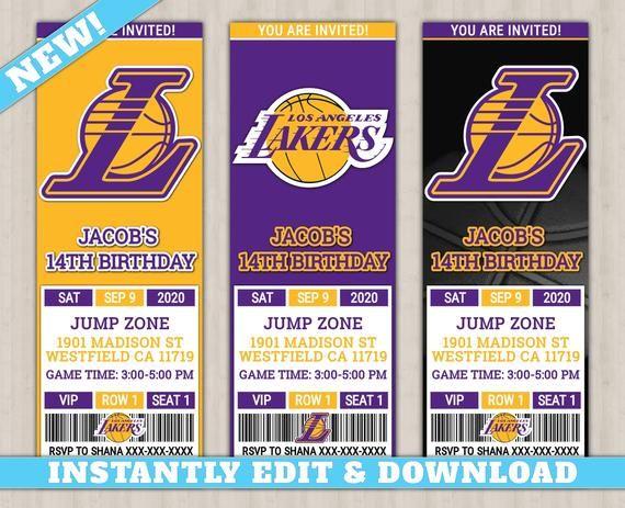 Los Angeles Lakers Custom Birthday Invitation New Edit Yourself Basketball Invi Custom Birthday Invitations Baby Boy 1st Birthday Party Party Invite Template