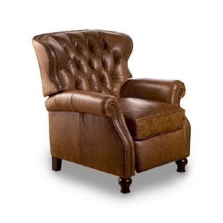 @Overstock.com - Cambridge Chaps Saddle Leather Recliner - Unquestionably refined, the Cambridge Recliner is a timeless take on a classic design. The chair features brass nail-head trim on the arms, a box style feather down seat cushion and an extended foot rest adjustable to three positions.  http://www.overstock.com/Home-Garden/Cambridge-Chaps-Saddle-Leather-Recliner/7860055/product.html?CID=214117 $989.99