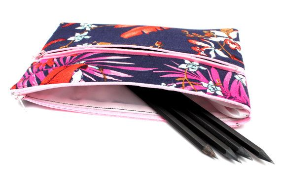 Sale! Navy Floral Pattern Pencilcase / Makeup Bag 22cmx14cm. Zip Pouch with Two Pockets and Pink Zippers