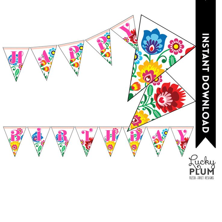 Fiesta Birthday Banner / Flower Banner / Tribal Banner / Mexican Fiesta Banner / Papel Picado Banner / Printable / DIY / *Digital File* by LuckyPlumStudio on Etsy https://www.etsy.com/listing/231093669/fiesta-birthday-banner-flower-banner