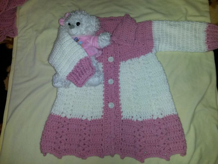 Crochet pink and white jacket