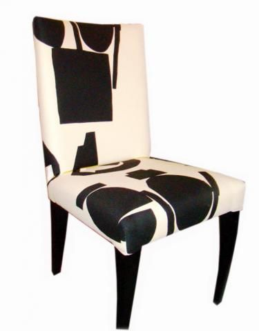 Modern Pace Dining Side Chairs Upholstered In An Off White And Black  Abstract Graphic Donghia Fabric