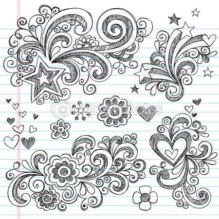 Zurück zu Schule Notebook Kritzeleien lückenhaft — Stockillustration #5469911