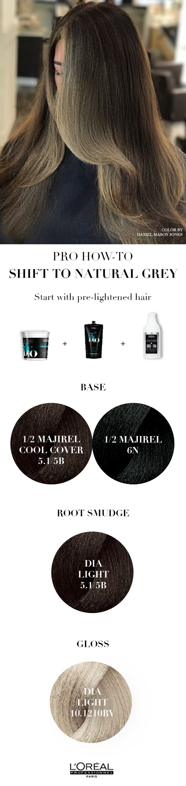 Pro hair how to using silver hair to make the transition to grey hair with L'Oreal Professionnel
