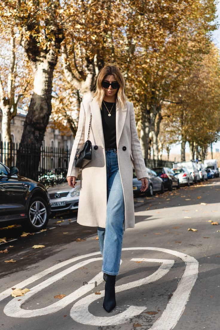 White Touches To Winter Fashionactivation In 2021 Winter Coat Outfits Coat Outfit Casual Light Blue Jeans Outfit [ 1103 x 736 Pixel ]