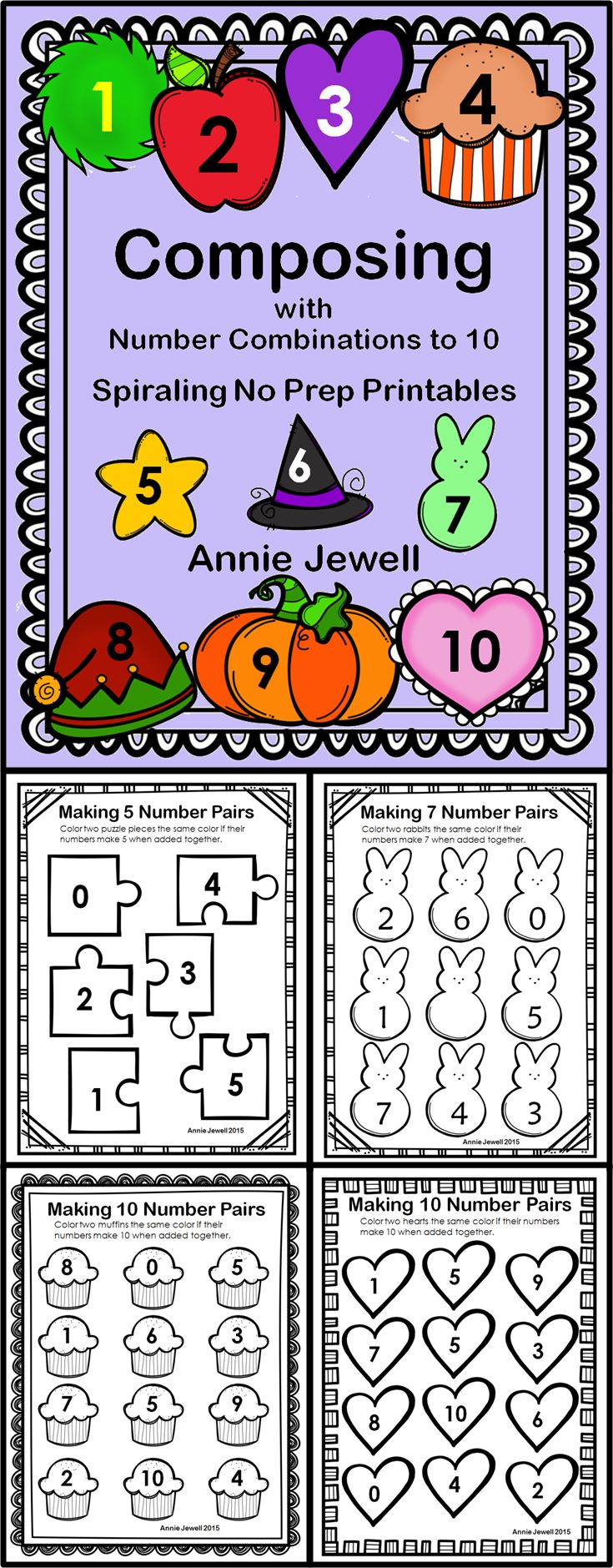 Composing with Number Combinations to 10 Kindergarten COMMON CORE KOA 3 and KOA 4, No Prep Printables, 20 Pages of Building with Number Pairs, Maintain Skills with Spiraling Review ***Many monthly, holiday, or seasonal themes***Great for centers, independent work***Kindergarten, 1st Grade, Home School***Choices within each theme for differentiation