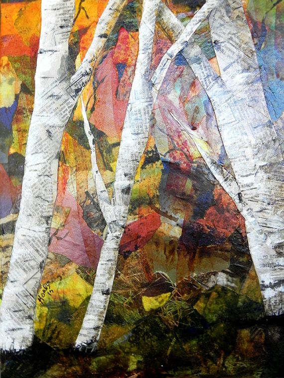 Original Fall Birch Trees Torn Paper Collage Original Birch by SouthPrairieHandmade | Etsy