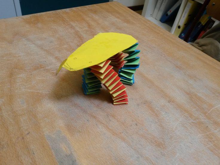 Muis knutselen: Teken de omtrek van een muis op een a4, en knip deze uit. De poten van de muis maak je door muizentrappetjes te maken; Neem 2 stroken die je om en om over elkaar heen vouwt. Maak vier muizentrappetjes en plak ze vast aan je muis om de muis af te maken.
