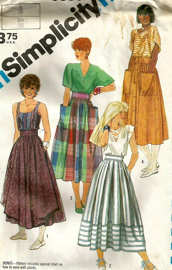 Vintage 80s Simplicity 6338 UNCUT Misses Pleated or Gathered  eb0f19bbe