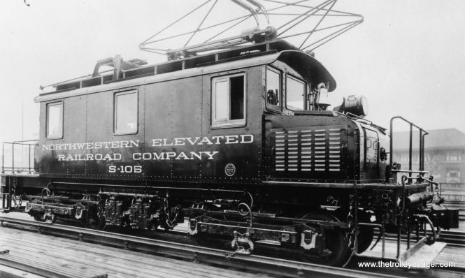"Don's Rail Photos: ""S-105 was built by Baldwin-Westinghouse in August 1920, #53556, as NWER S-105. In 1923 it became CRT S-105 and CTA S-105 in 1948. In 1982 it was sold to TECo for parts and was sold to East Troy Electric RR in 1997. It was sold to Illinois Railway Museum in 2007."" It is shown at the Wilson Avenue Yards on the north side. (George Trapp Collection)"