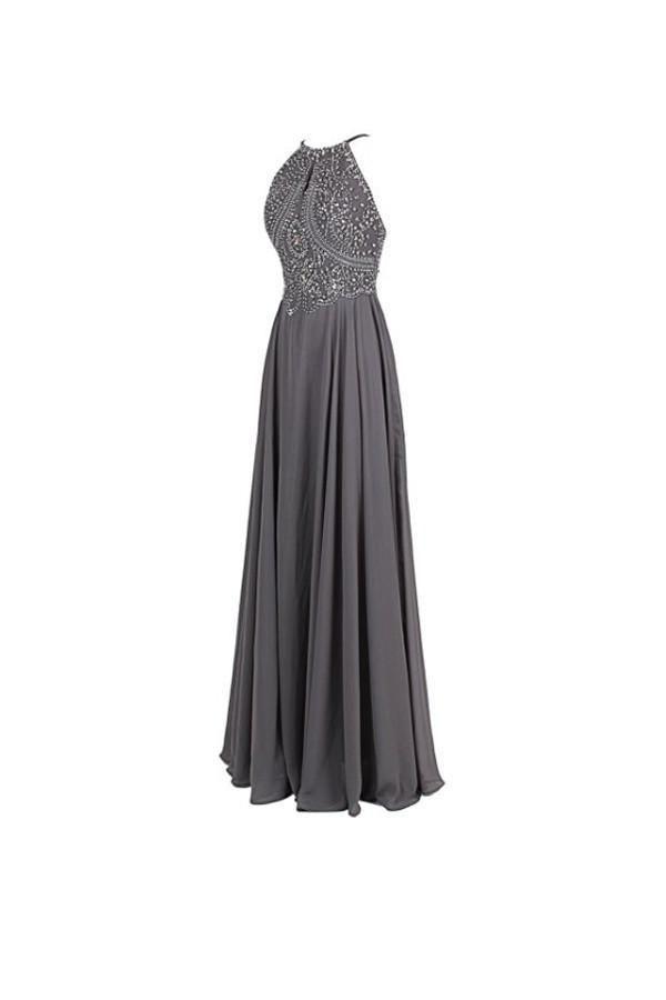 fb1a7e9eaf2 Elegant Gray Empire Waist Backless Chiffon Prom Dress Bridesmaid Dress With  Beading