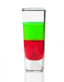 Santa Shot (creme de menthe, grenadine, peppermint schnapps) akoopatroopa