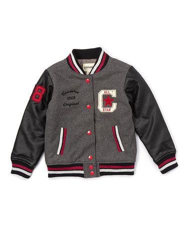Look at this #zulilyfind! Charcoal Heavy-Weight Wool-Blend Varsity Jacket - Girls #zulilyfinds