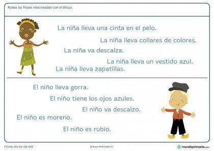Ficha de frases que reflejan dibujos para primaria