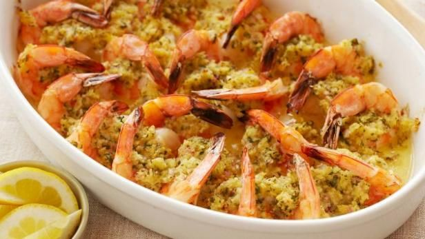 Baked shrimp scampi is an easy company dish that can be made ahead of time.