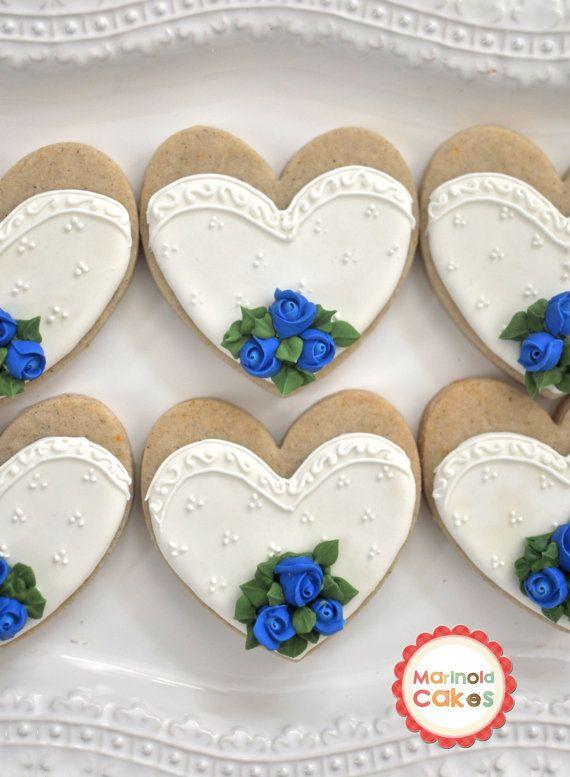 Bride and Groom Wedding Favor Cookies with Rose Bouquet- 1 Dozen (6 Pair Set)- Cookie Favors, Wedding Cookies,  Bridal Shower Cookies via Etsy